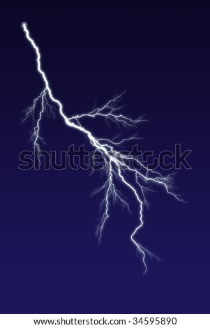 Lightning bolt against dark sky.