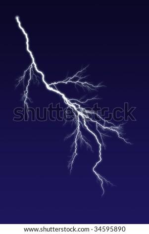 Lightning bolt against dark sky. - stock photo