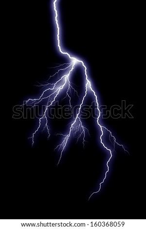 Lightning bolt at a dark night - stock photo