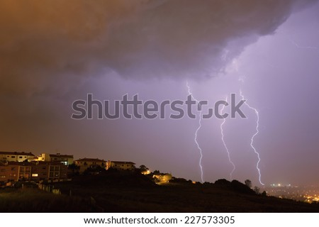 lightning bolt in the city of Braga, in the north of Portugal - stock photo