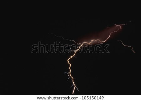 Lightning Bolt in the Night Sky