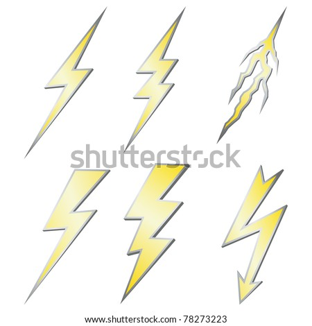 Lightning bolt set isolated on white. Gold with silver margin. - stock photo