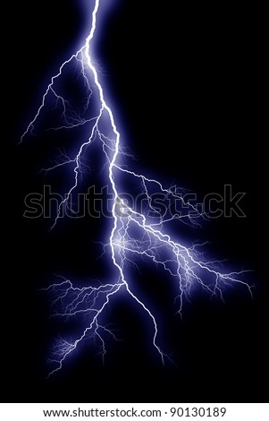 Lightning bolts at night show the power and beauty of an electrical arc. - stock photo