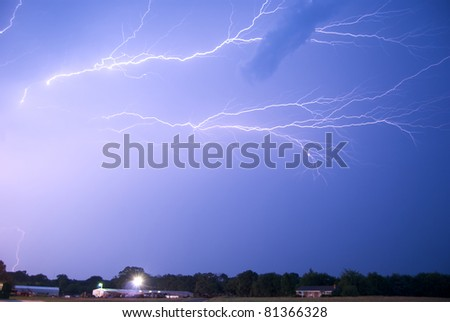 Lightning Crawlers on Thunderstorm Anvil - stock photo