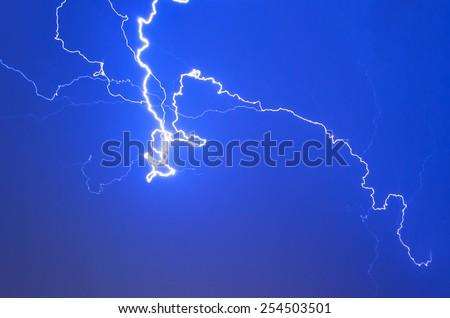 Lightning electricity sky night thunderstorm weather storm - stock photo