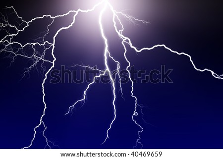 lightning flash in dark sky - stock photo