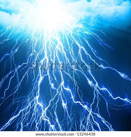 lightning flash on a bright blue background - stock photo