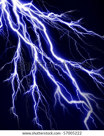 Lightning flash on a dark black background