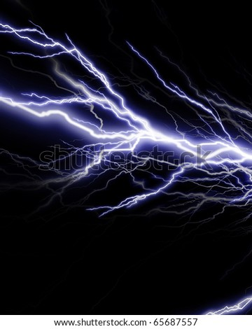 Lightning flash on a dark black background - stock photo