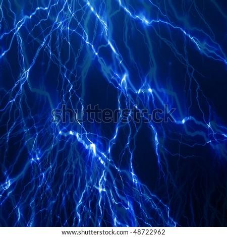 lightning flash on a dark blue background - stock photo