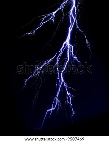 Lightning flash on black background - stock photo