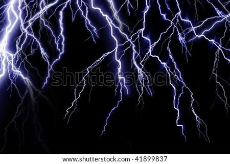 lightning flashes on a dark black background - stock photo