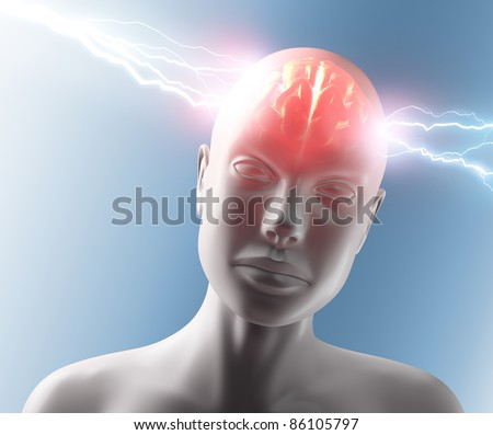 Lightning going through the head and brain. Concept of headache. - stock photo