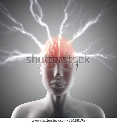 Lightning going through the head and brain. Concept of headache or the power of mind.