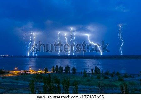 Lightning hits - stock photo