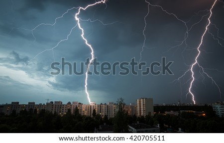Lightning hits the house - stock photo