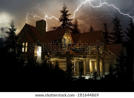 Lightning Home Protection Theme. Log Home in the Middle of the Forest During Heavy Lightning Storm. 3D Render Illustration. - stock photo
