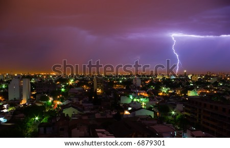 Lightning in a stormy night, in the outsides of Buenos Aires, Argentina