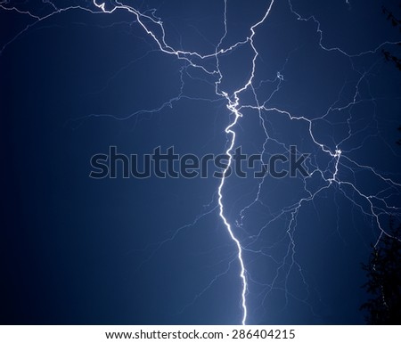 lightning in a thunderstorm - stock photo