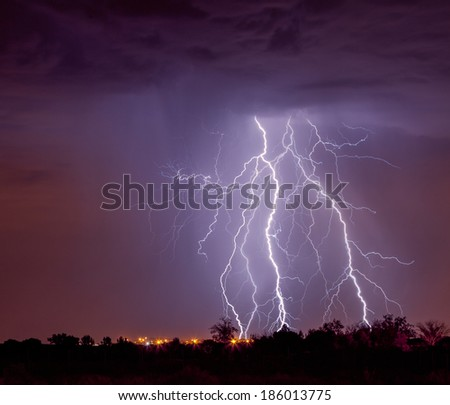 Lightning in Albuquerque New Mexico at Night
