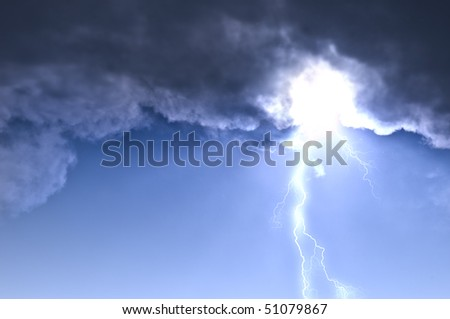 lightning in dark cloudy sky - stock photo