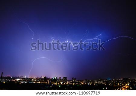 lightning in Kiev - stock photo