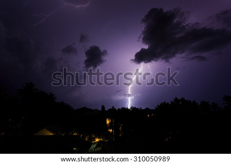 Lightning in the cloudy sky of Chaweng in Koh Samui island, Thailand - stock photo