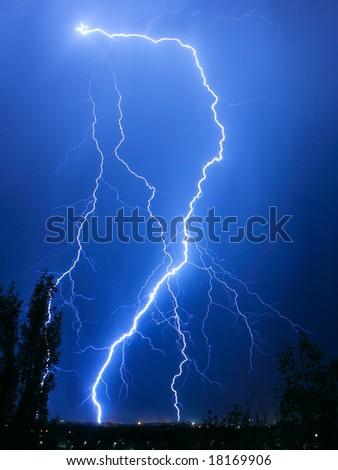lightning in the dark - stock photo