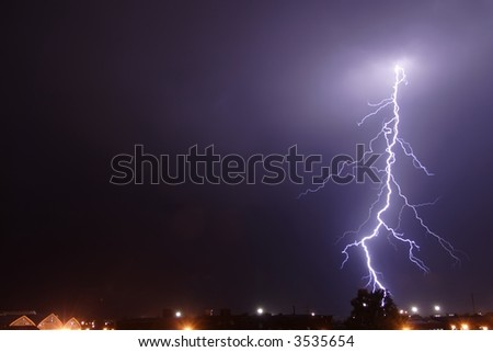 Lightning in the night. Not computer graphic. Real. - stock photo
