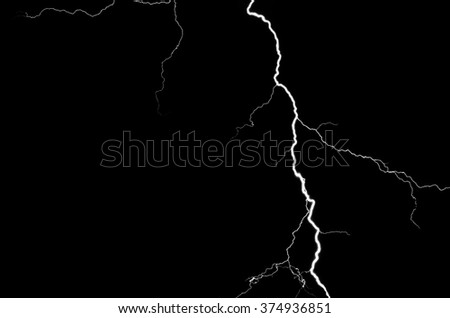 Lightning in the night sky. - stock photo