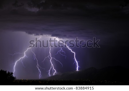 Lightning in the Tucson Valley - stock photo