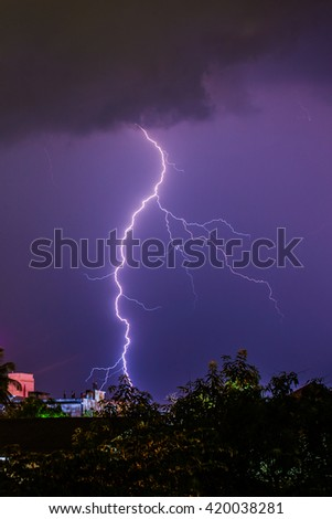 Lightning in urban ,Thailand.
