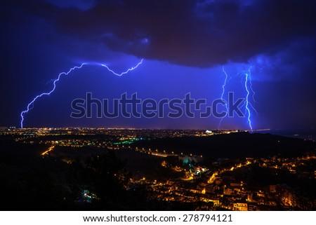 Lightning, Majorca - stock photo