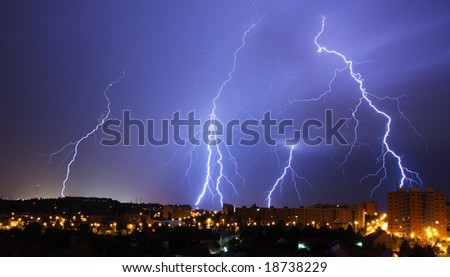 lightning, night storm in town