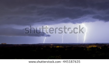 lightning on a background of the night sky - stock photo