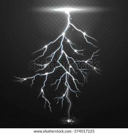 Lightning on black background with transparency for design