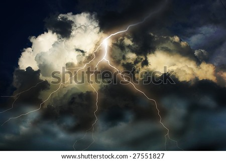 Lightning on clouds sky. Combine photo and raster illustration.