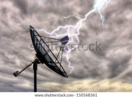 Lightning on the satellite dish - stock photo