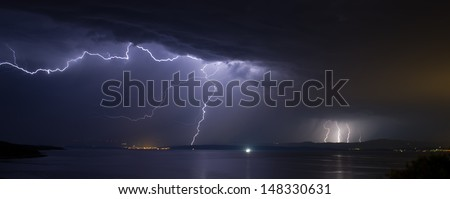 Lightning over Dalmatia - stock photo