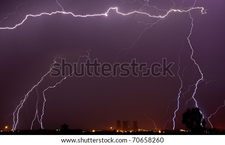 lightning over power station south africa, gauteng - stock photo