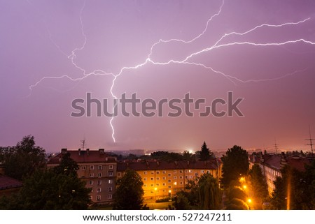 Lightning over the city