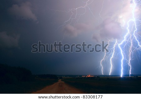 Lightning over the field