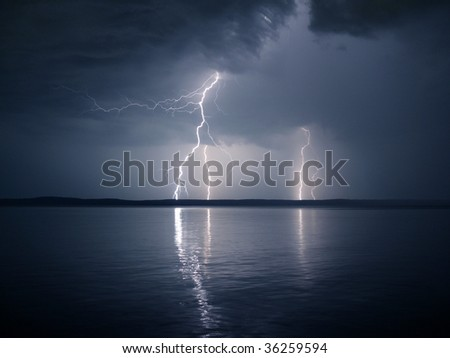 Lightning over the lake, night