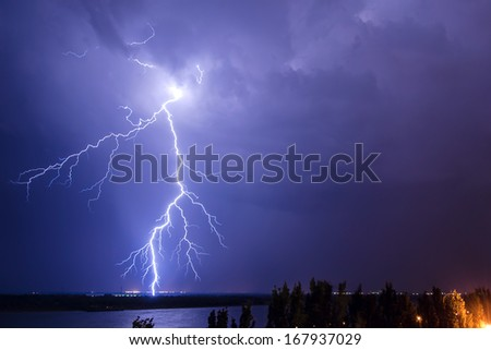 Lightning over the river Volga. Volgograd. Russia - stock photo