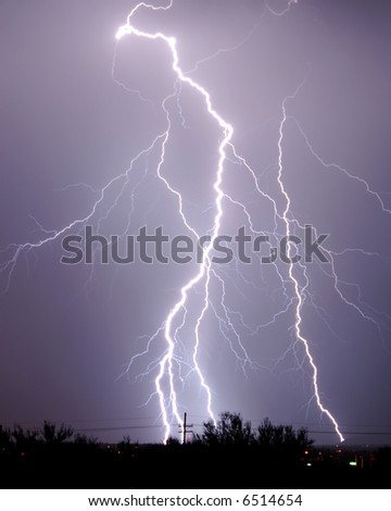 Lightning over Tucson - stock photo