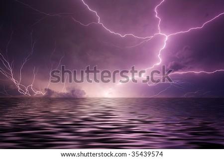 Lightning over water - stock photo