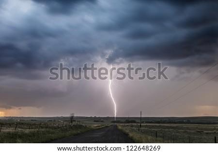 Lightning road - stock photo