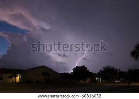 Lightning show in a local neighborhood just after sunset
