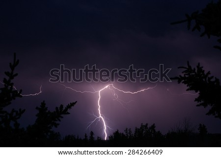 Lightning silhouette background. - stock photo