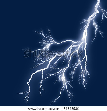 lightning silhouette white background blue sky at night